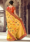 Red and Yellow Beads Work Traditional Saree - 1
