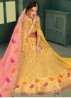 Jacquard Silk Lace Work Trendy A Line Lehenga Choli - 1