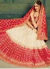 Off White and Red Jacquard Silk Trendy A Line Lehenga Choli - 1
