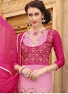 Pink and Rose Pink Embroidered Work Pant Style Classic Salwar Suit - 1