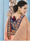 Satin Silk Navy Blue and Salmon Lace Work Trendy Classic Saree - 1