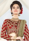 Staggering Cream and Red Booti Work Designer A Line Lehenga Choli For Ceremonial - 1