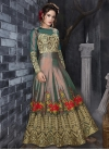 Embroidered Work Green and Peach Long Length Designer Anarkali Suit - 1