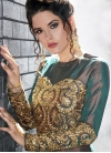 Embroidered Work Green and Peach Long Length Designer Anarkali Suit - 2