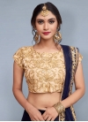 Cream and Navy Blue A Line Lehenga Choli For Festival - 1