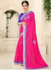 Faux Georgette Lace Work Blue and Rose Pink Traditional Saree - 1
