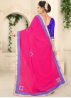 Faux Georgette Lace Work Blue and Rose Pink Traditional Saree - 2