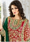 Whimsical Silk Green and Red Designer Patiala Salwar Kameez - 2