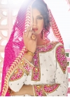 Off White and Rose Pink Silk Designer Palazzo Salwar Kameez - 2