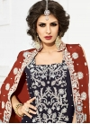 Chic Beads Work Navy Blue and Red Palazzo Designer Salwar Kameez For Festival - 2