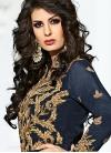 Imposing Beige and Navy Blue Beads Work Trendy Pant Style Suit - 1