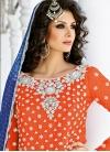 Competent Beads Work Grey and Orange Net Designer Salwar Kameez - 2