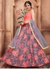 Grey and Salmon Aari Work Lehenga Choli - 1