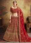 Velvet A Line Lehenga Choli For Bridal - 1