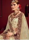 Cream and Maroon Satin Lehenga Choli For Bridal - 1