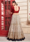 Beads Work Beige and Red A - Line Lehenga - 2