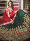 Bottle Green and Rose Pink Net A - Line Lehenga - 1