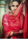 Bottle Green and Rose Pink Net A - Line Lehenga - 2