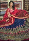 Embroidered Work Navy Blue and Rose Pink Lehenga Choli - 2