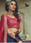 Embroidered Work Navy Blue and Rose Pink Lehenga Choli - 1