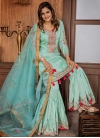 Embroidered Work Satin Silk Sharara Salwar Suit - 1
