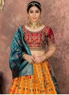 Orange and Red A - Line Lehenga - 1