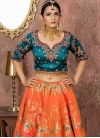 Navy Blue and Orange A Line Lehenga Choli - 1