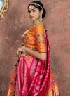 Hot Pink and Orange Embroidered Work Lehenga Choli - 1