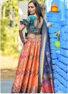 Salmon and Teal Banarasi Silk Trendy Lehenga Choli - 1