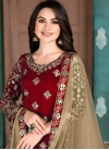 Embroidered Work Designer Semi Patiala Suit For Ceremonial - 1