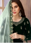 Velvet Embroidered Work Semi Patiala Salwar Kameez - 1