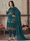 Embroidered Work Faux Georgette Pant Style Classic Salwar Suit - 2