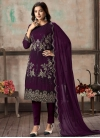 Embroidered Work Faux Georgette Pant Style Classic Suit - 2