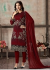 Embroidered Work Faux Georgette Pant Style Straight Salwar Kameez - 2