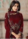 Embroidered Work Faux Georgette Pant Style Straight Salwar Kameez - 1