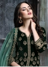 Embroidered Work Velvet Bottle Green and Brown Kameez Style Lehenga - 1