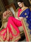 Blue and Rose Pink Half N Half Trendy Saree - 1