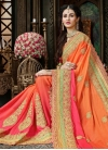 Hot Pink and Orange Booti Work Designer Contemporary Style Saree - 1