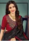 Black and Red Chiffon Satin Classic Saree - 1
