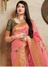 Green and Salmon Banarasi Silk Trendy Saree - 1