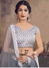 Grey and Silver Color Net A - Line Lehenga - 1