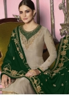 Embroidered Work Beige and Green Pakistani Straight Salwar Suit - 1