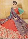 Aqua Blue and Coral Banarasi Silk A Line Lehenga Choli - 1