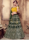 Embroidered Work Bottle Green and Mustard Trendy Lehenga - 1
