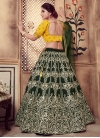 Embroidered Work Bottle Green and Mustard Trendy Lehenga - 2