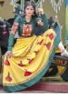 Bottle Green and Yellow Designer A Line Lehenga Choli For Ceremonial - 1