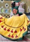 Bottle Green and Yellow Designer A Line Lehenga Choli For Ceremonial - 2