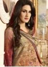 Crepe Silk Brown and Red Digital Print Work Palazzo Style Pakistani Salwar Suit - 1