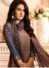 Crepe Silk Brown and Grey Digital Print Work Pant Style Pakistani Salwar Kameez - 2