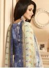 Digital Print Work Crepe Silk Cream and Navy Blue Pant Style Pakistani Salwar Kameez - 2